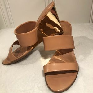 Worn once Kate Spade Wedge Sandals with Gold Heels